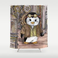 engineer Shower Curtains featuring Penguin Engineer by Tanya Davis Art