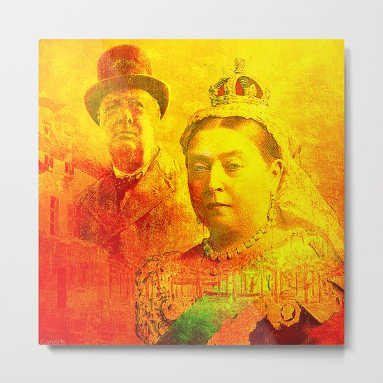 Queen Victoria and Churchill Metal Print