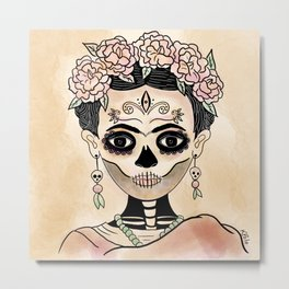 Catrina Frida in Dia de Muertos Metal Print