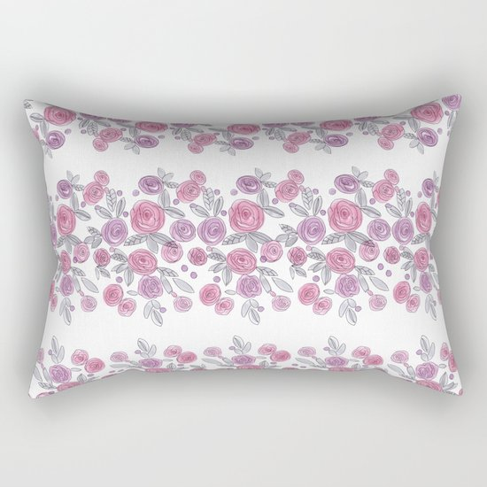 Bouquets of pink roses . Watercolor . Rectangular Pillow