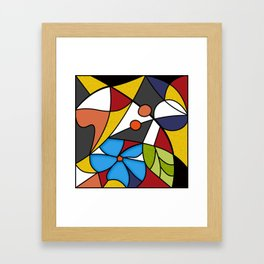 Abstraction. Curves and bends. Color mosaic . Framed Art Print