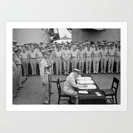 General MacArthur Signing The Japanese Surrender Art Print