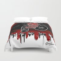 lebron Duvet Covers featuring 100 Meter Dash! by SaintCastro