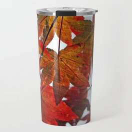Autumn Leaves in Red and Orange Travel Mug