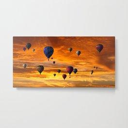 Hot Air Balloons Into a Sunset Sky Metal Print