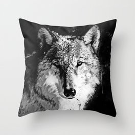 wolf splatter watercolor black white Throw Pillow