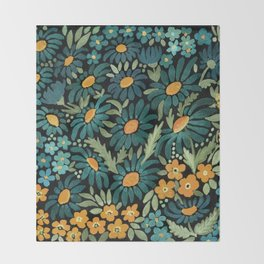 Watercolor . Chamomile field. 2 Throw Blanket