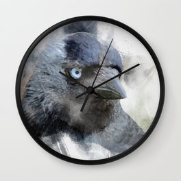 jackdaw - blue eyes Wall Clock