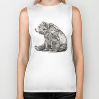 animals Biker Tanks featuring Bear // Graphite by Sandra Dieckmann