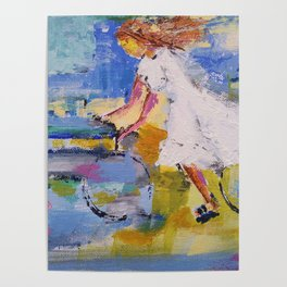 Girl and bicycle Poster