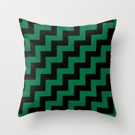 Black and Cadmium Green Steps RTL Throw Pillow