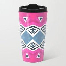 Geo Triangle Pink Navy 2 Travel Mug