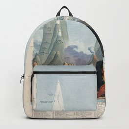 Vintage Print - Mountains (Comparative Heights) (1851) Backpack
