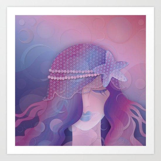 Mermaid IV - Pink Violet Princess Art Print