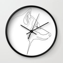 """ Animals Collection"" - One Line Wolf Print Wall Clock"