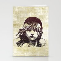 les miserables Stationery Cards featuring Les Miserables Girl by Pop Atelier
