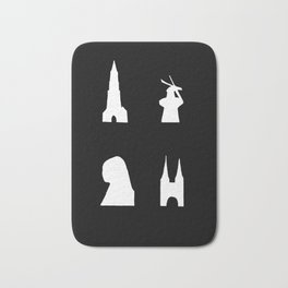 Delft silhouette on black Bath Mat