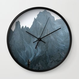 Dolomites mountain range in italy with hiker sunset - Landscape Photography Wall Clock