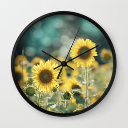 Sunflower Flower Photography, Yellow Teal Nature Turquoise Aqua Blue Green Wall Clock