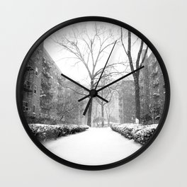 Snowy Day in Queens, New York City Wall Clock