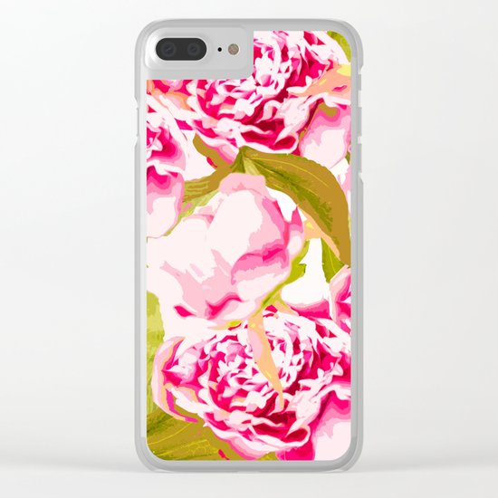 Lovely Peony Flowers Blossom - Summer Garden Clear iPhone Case