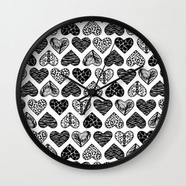 Wild Hearts in Black and White Wall Clock