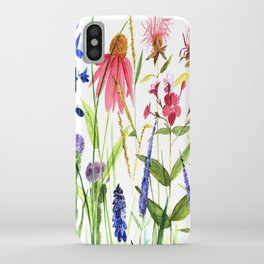 Botanical Colorful Flower Wildflower Watercolor Illustration iPhone Case