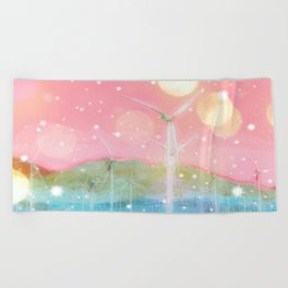 wind turbine in the desert with snow and bokeh light background Beach Towel