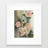 peonies Framed Art Prints featuring Peonies by Shazia Ahmad