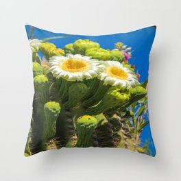 Saguaro Flower Power Throw Pillow
