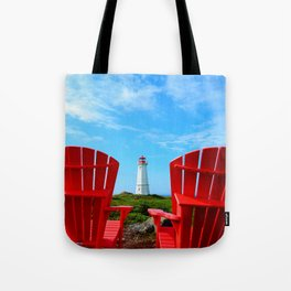 Lighthouse and chairs in Red White and Blue Tote Bag