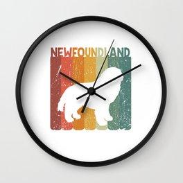 Retro Newfoundland Dog Dog Lover Gift Idea Wall Clock