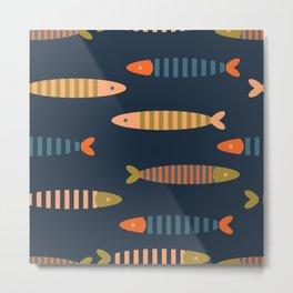 Striped fish - dark blue Metal Print
