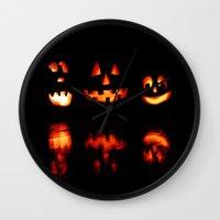 halloween Wall Clocks featuring haLLoween by 2sweet4words Designs
