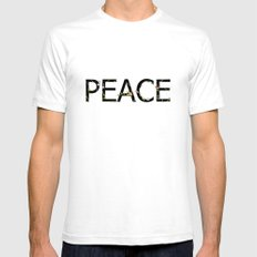 PEACE Mens Fitted Tee SMALL White