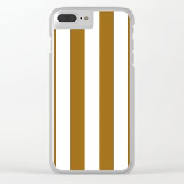 Vertical Stripes - White and Golden Brown Clear iPhone Case