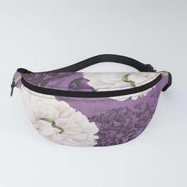 White Peony Purple Collage Fanny Pack