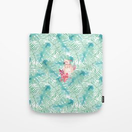 Tropical watercolor green pink bird floral leaves Tote Bag