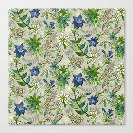 Alpine Flowers - Gentian, Edelweiss Canvas Print