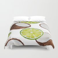 coconut wishes Duvet Covers featuring Lime & Coconut  by Nora Buschman