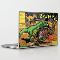 infamous Laptop & iPad Skins featuring Space Chick & Nympho: Vampire Warrior Party Girl Comix #1- Tyrano the Dinosaur-God  in Comic Page  by Tex Watt
