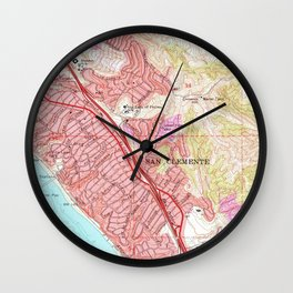 Vintage Map of San Clemente California (1968) Wall Clock