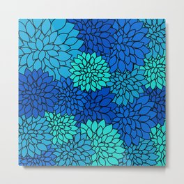 Floral Pattern - Shades of Blue Flower Patterns Metal Print