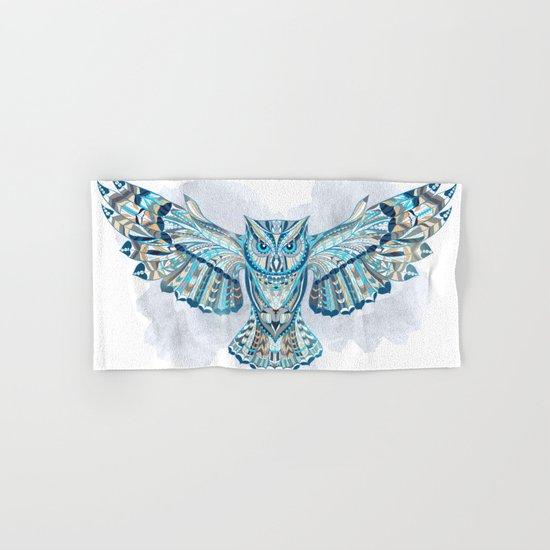Blue Ethnic Owl Hand & Bath Towel