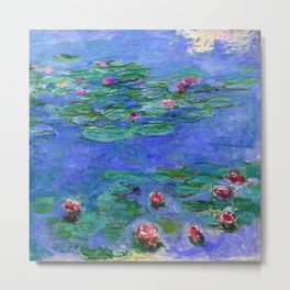 Claude Monet Waterlilies Red Metal Print