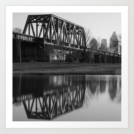 Dallas Texas Architecture and Skyline Reflections - Black and White Art Print