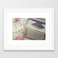 typewriter Framed Art Prints featuring Typewriter by Beth Retro