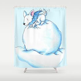 A Fluffball on a Snowball Shower Curtain