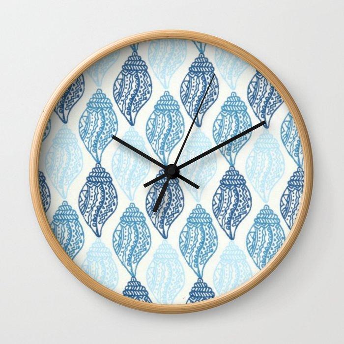 blue shells pattern Wall Clock