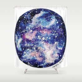 Nebula Planet with Seed of Life Shower Curtain